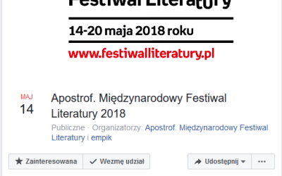 2018-05-20: Apostrof – Międzynarodowy Festiwal Literatury 2018