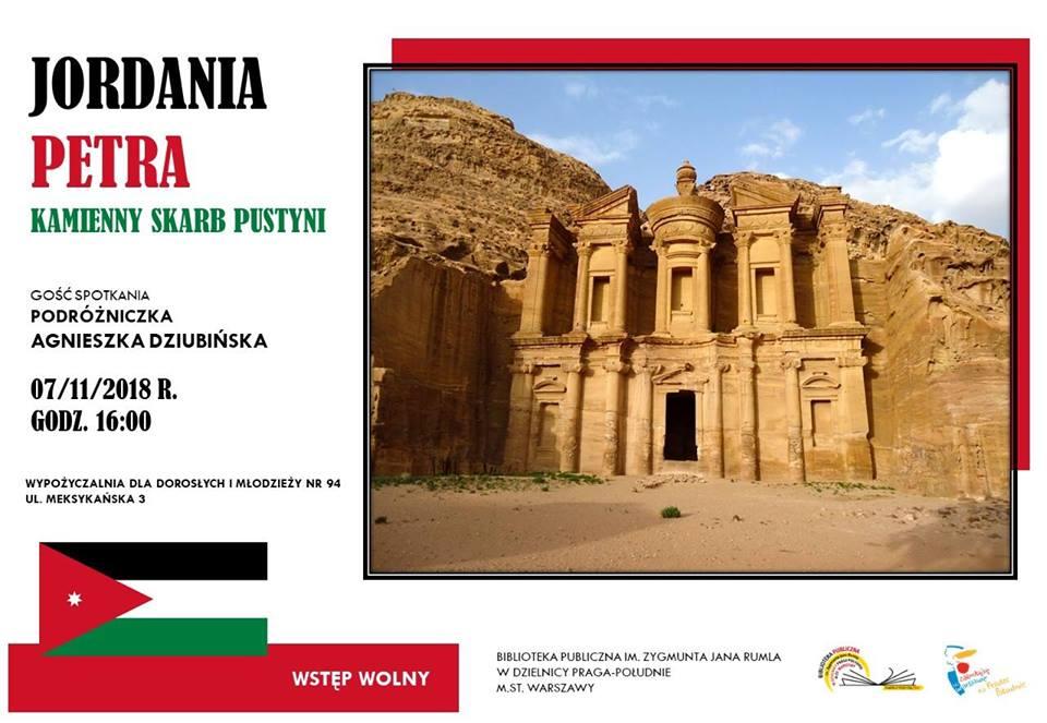 2018-11-07: Jordania. Petra – kamienny skarb pustyni. Spotkanie podróżnicze