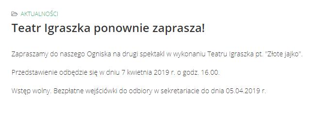 "2019-04-07: spektakl pt. ""Złote jajko"""