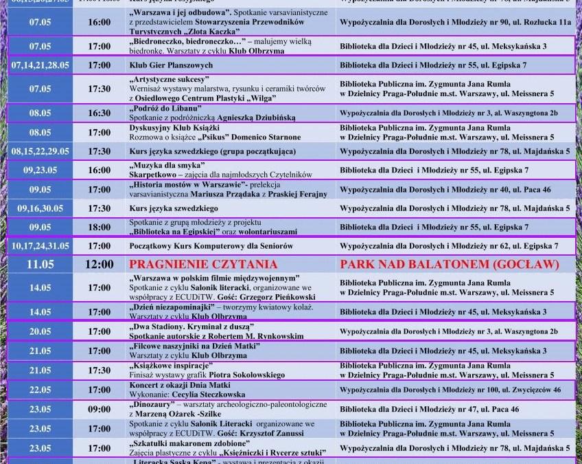2019-05-01 do 31: wydarzenia w filiach bibliotecznych na Saskiej Kępie