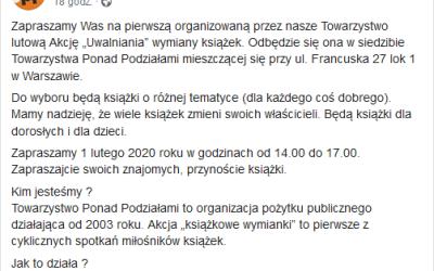 """2020-02-01: Akcja """"Uwalniania""""/wymiany książek"""