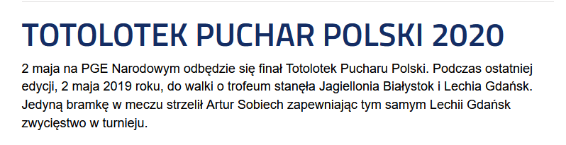 2020-05-02: Totolotek Puchar Polski 2020
