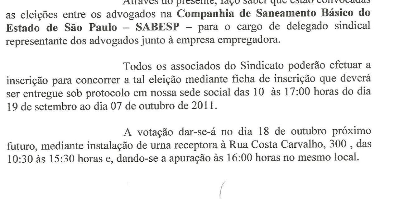 Eleição para delegado sindical na Sabesp