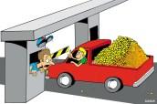 01/04/2000 - Em uma manifestação contra o aumento do pedágio, motoristas pagam a tarifa com moedas.