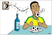 """04/02/2000 - Ronaldinho """"comeu a bola"""" contra a argentina."""