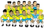 04/02/2000 - Caricatura da seleção brasileira de 2000.