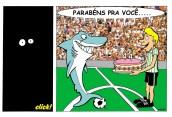07/04/2000 - Aniversário do Londrina Esporte Clube. (Primeira charge que fiz do tubarão).