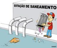23/03/2001 - Estação de tratamento joga dejetos na água que será tratada pela própria estação.