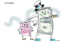 Alta do dólar e desvalorização do real.