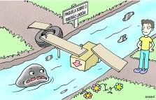 Ponte precária sobre o ribeirão lindóia.