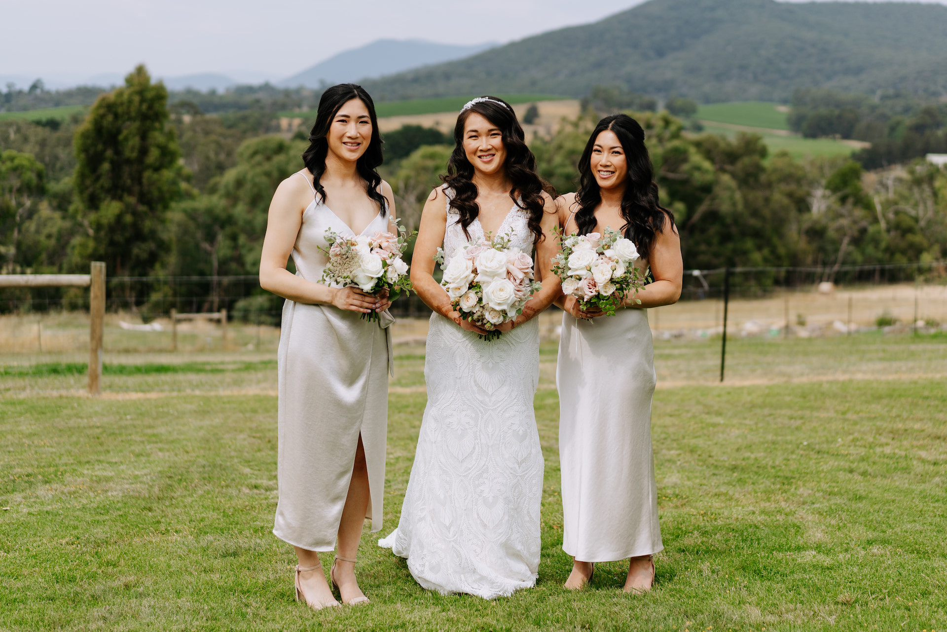 Foam free design summer wedding ceremony with open wedding arbour at Stones of the Yarra Valley