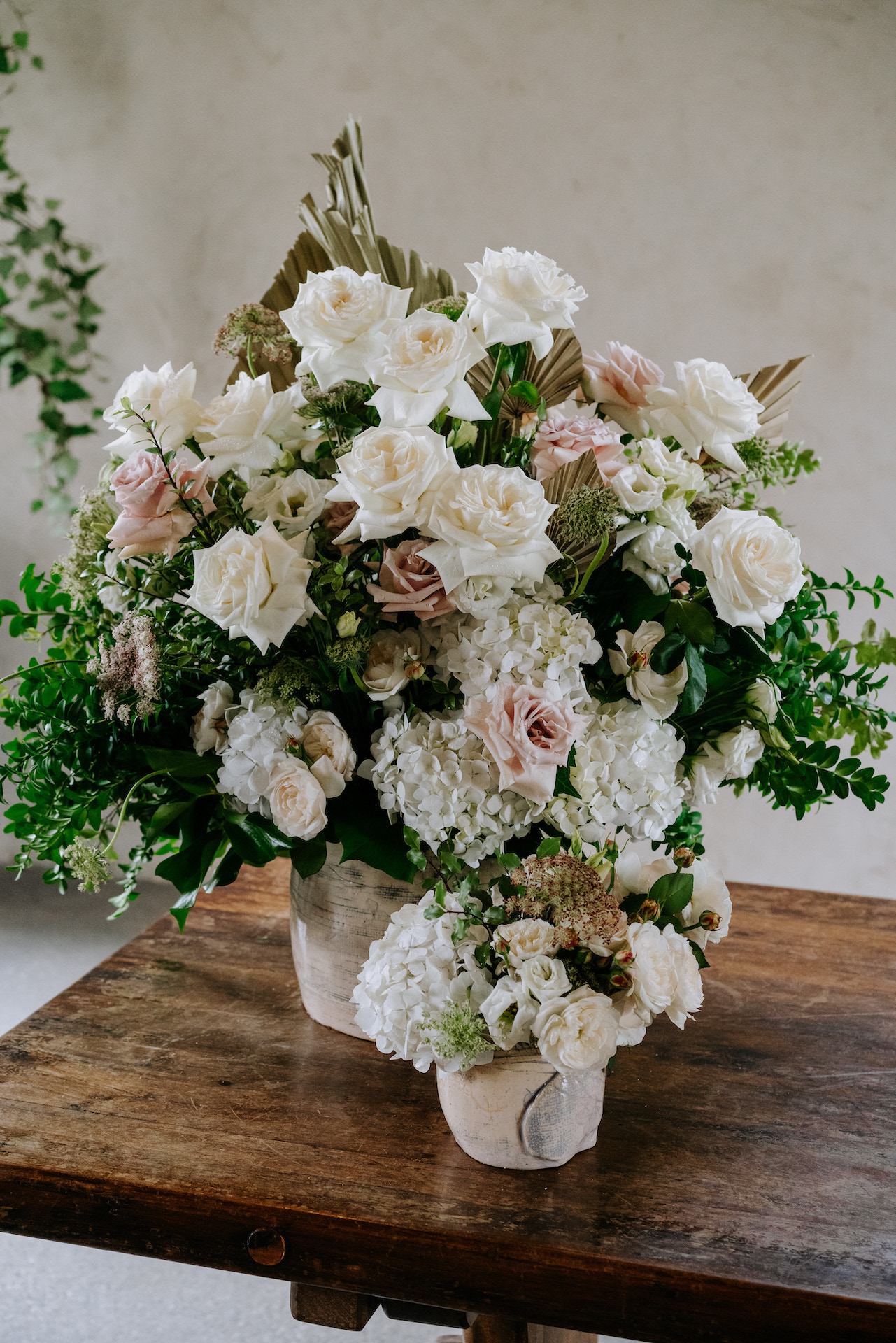 Neutral wedding flowers white and blush roses by Yarra Valley Wedding Florist Sassafras Flower Design.