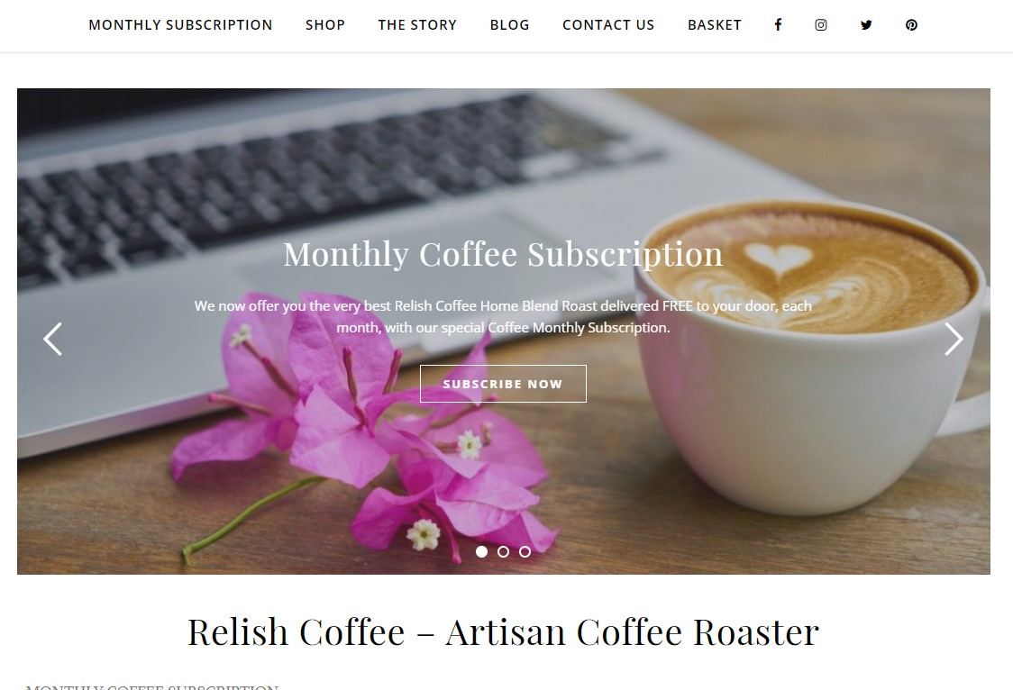 Website update for a Coffee Shop and Delivery Service.