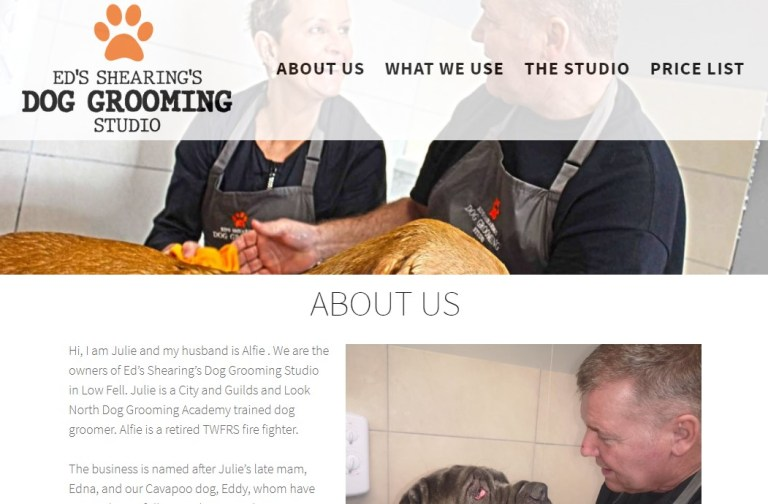 Ed's Shearing's Dog Grooming Studio Website