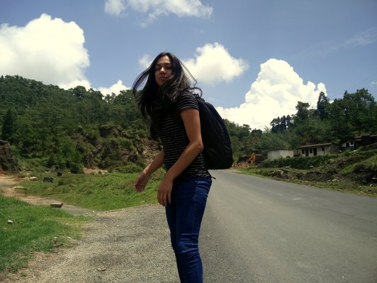 It looked as if the background was painted... enroute to Mawlynnong from Shillong, Meghalaya, India.