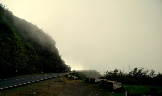 Cloud-clad roads, enroute to Mawlynnong from Shillong, Meghalaya, India.