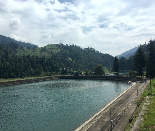 A reservoir built from the waters of Uhl river, Barot, Himachal Pradesh, India
