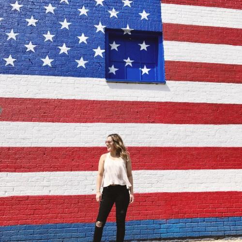 American flag mural in Dallas