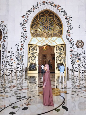 Inside the grand mosque Abu Dhabi UAE