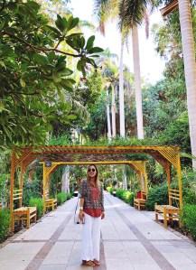 Girl in Aswan Egypt gardens