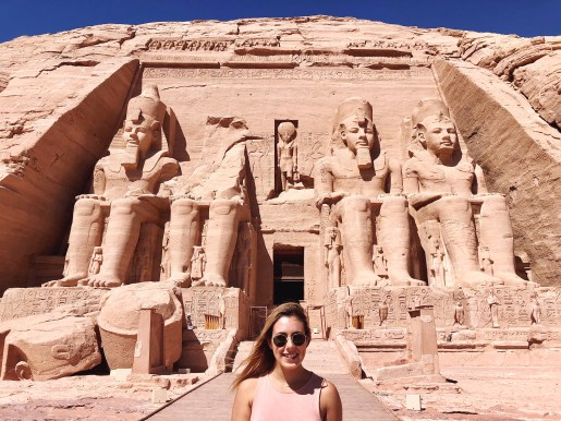 Girl in front of Abu simbel, Aswan Egypt