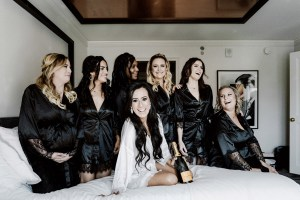 wedding party black robes