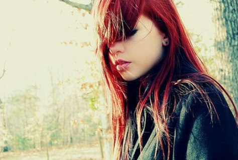 redhead Red hair bangs in face