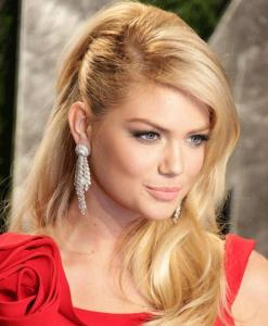 Side Comb Kate Upton Wavy Downdo Hairstyle