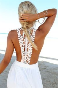 White Mermaid Maxi Dress Lace Back