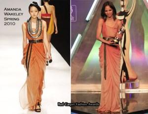 Zoe Saldana Amanda Wakeley Ombre Dress International Casandra Awards