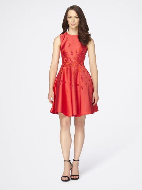 Bead Appliquéd Fit-And-Flare Mikado Dress