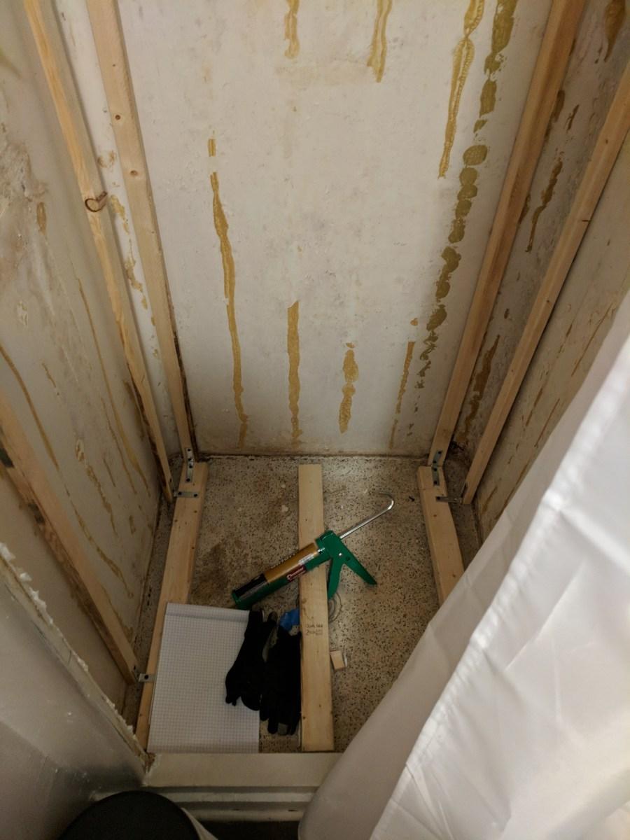 Bathroom shower floor 2x4s
