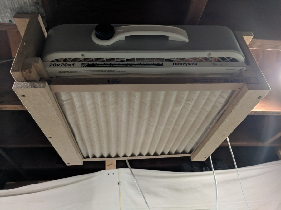 Box fan air cleaner installed
