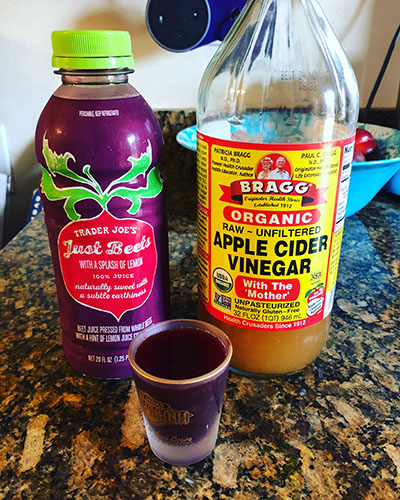 Apple cider vinegar (ACV) and beet juice