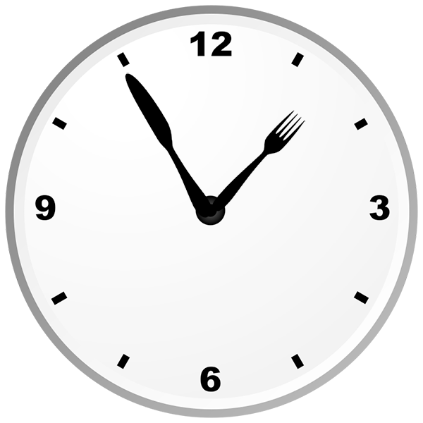 Fork-knife and clock