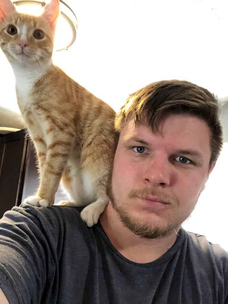 cat riding shoulder