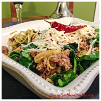 Spaghetti Squash with Spinach and Sausage {Gluten Free}