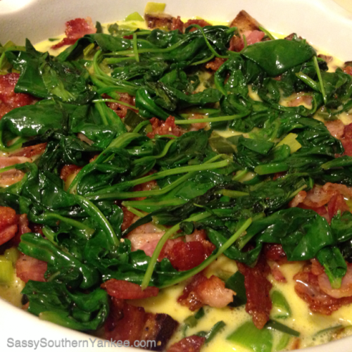 Bacon, Leek, Spinach, and Swiss quiche