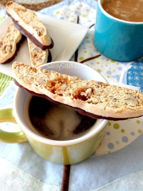 Chocolate-dipped Pecan Praline Biscotti 2