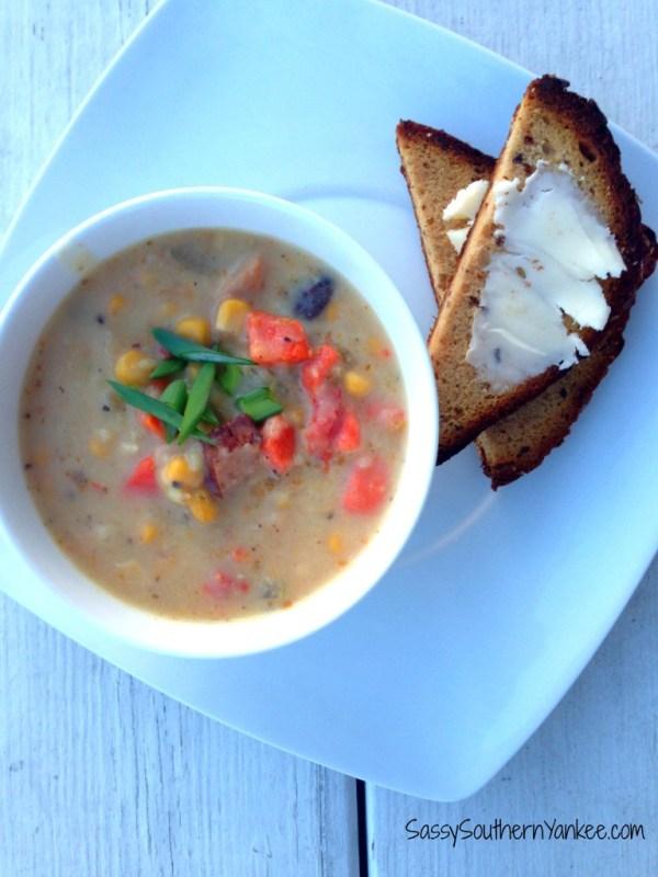 Corn and Kielbasa Chowder {Gluten Free} 2