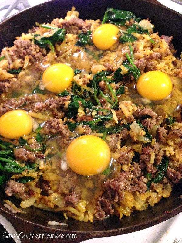 Spinach & Sausage Marsala Hash with Eggs 3