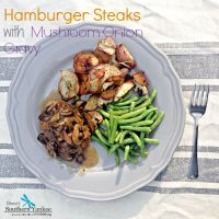 Hamburger Steaks with Mushroom Onion Gravy- Gluten Free