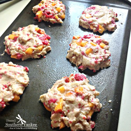 Raspberry Peach Scones ready for the oven