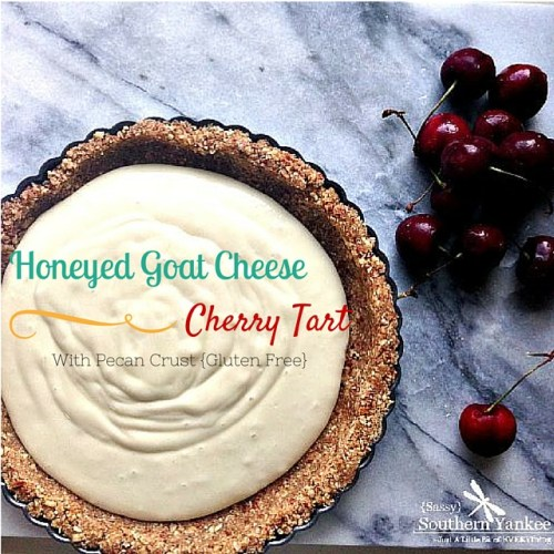 Honeyed Goat Cheese Cherry Tart with Pecan Crust from Sassy Southern Yankee