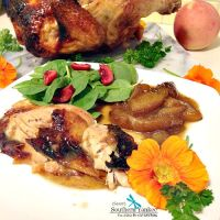"""Darn Good Ginger """"Beer Can"""" Chicken with Roasted Peaches {Gluten Free}"""