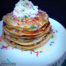 Funfetti Cake Batter Pancakes {Gluten Free} from Sassy Southern Yankee