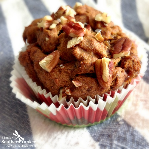 Caramel Pecan Banana Muffins {Gluten Free} from Sassy Southern Yankee