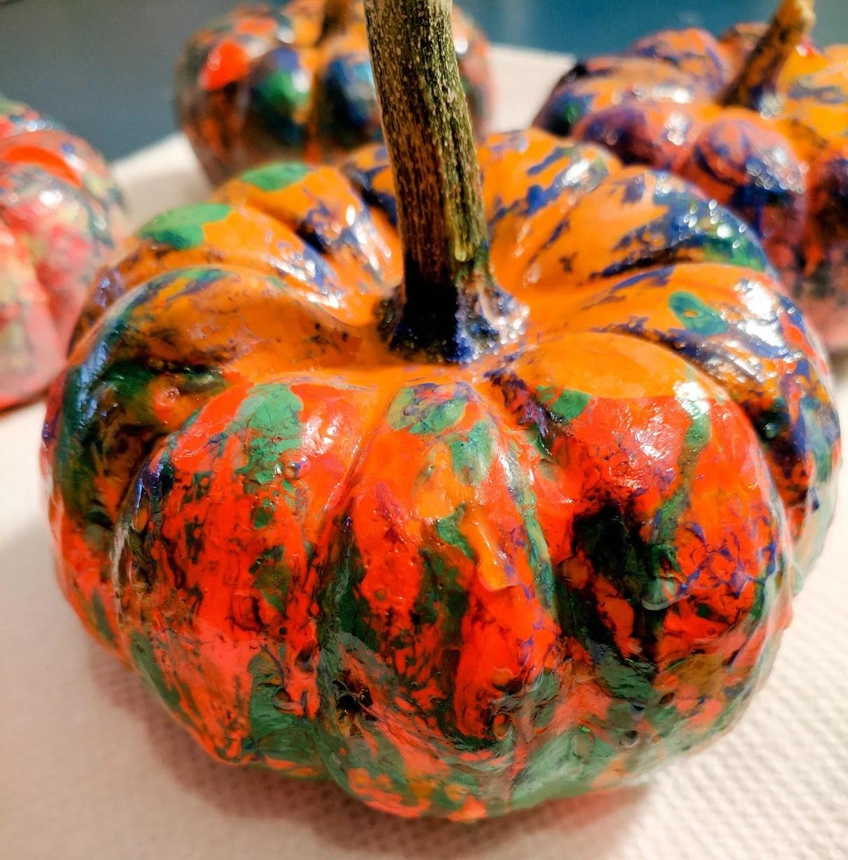 Nail Polish Dipped Pumpkins