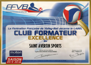 Label club formateur excellence pour le Saint-Avertin Sports Volley-Ball