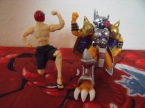 Sunred and Wargreymon compare muscles.